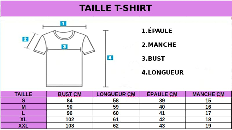 TAILLE T-SHIRT LICORNE FASHION