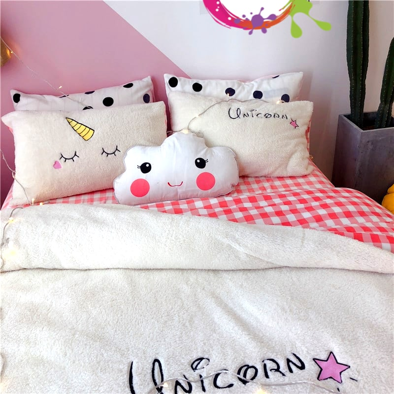 TAIE D'OREILLER HOUSSE COUETTE LICORNE BRODÉE BLANCHE N-1