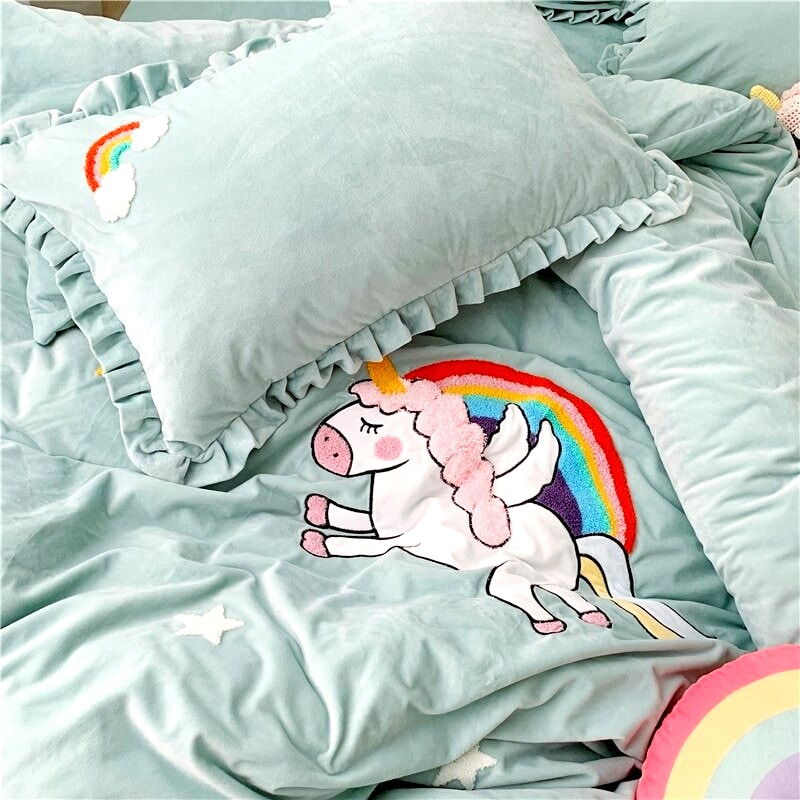 HOUSSE COUETTE LICORNE PETITE FILLE N4 TAIE D'OREILLER