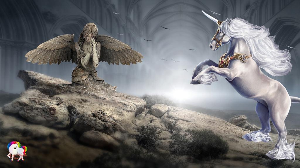 IMAGES FANTASTIQUES ET FÉERIQUES LICORNES - Le pardon de l'ange pierre à la licorne blanche protectrice