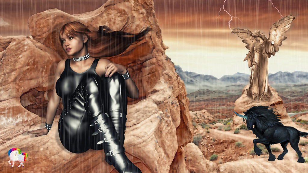 Une licorne noire vient cherche sa princesse noire au pied d'une montagne l'ange de pierre n'est pas loin