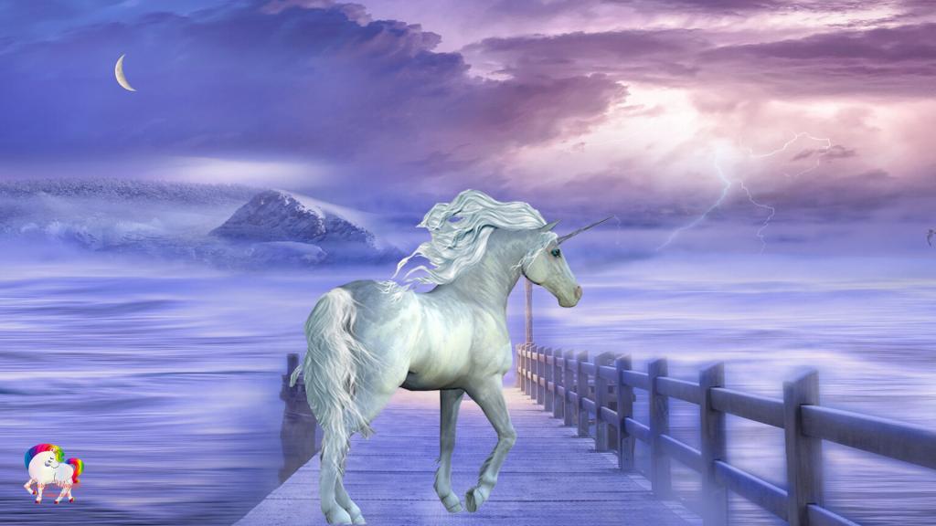 Une licorne blanche se promène prêt d'un lac magique