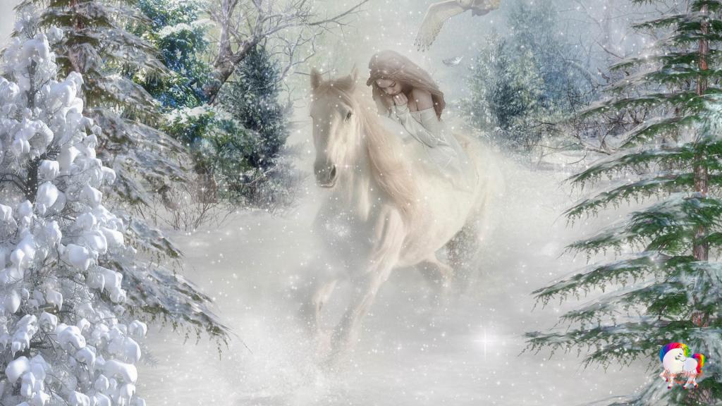 Une licorne blanche qui court dans l'hiver glacial monté par un ange pur un aigle protecteur les survole