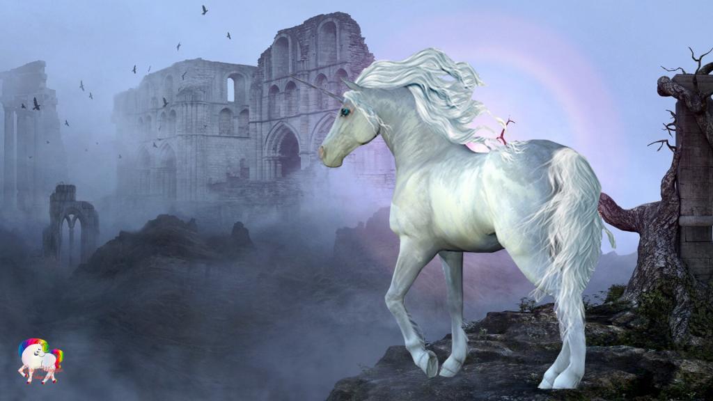 Dans les ruines magiques d'un très vieux château une licorne blanche se promène