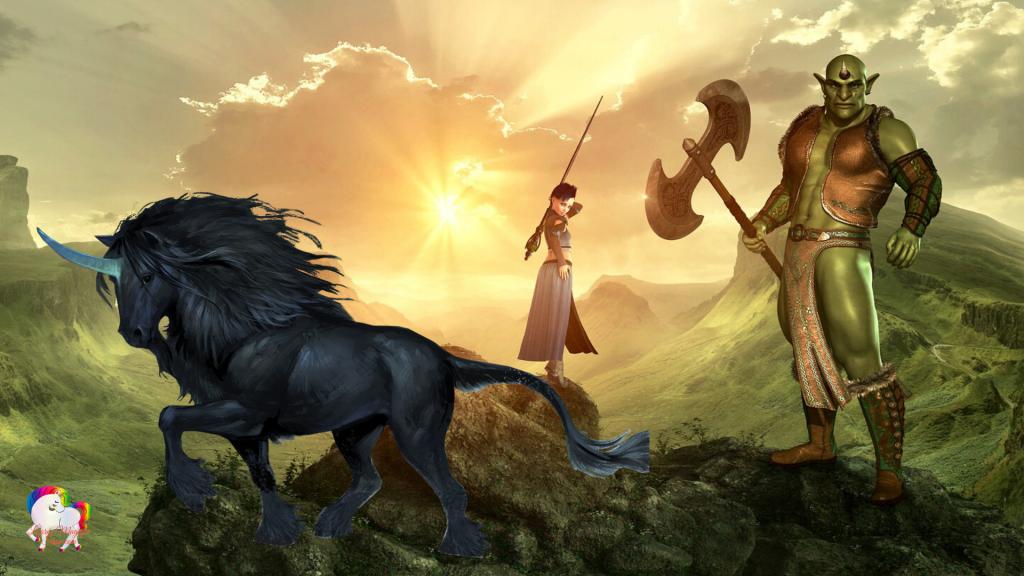 Dans un univers magique au couché du soleil une guerrière en compagnie d'un guerrier géant vert et leur licorne noire