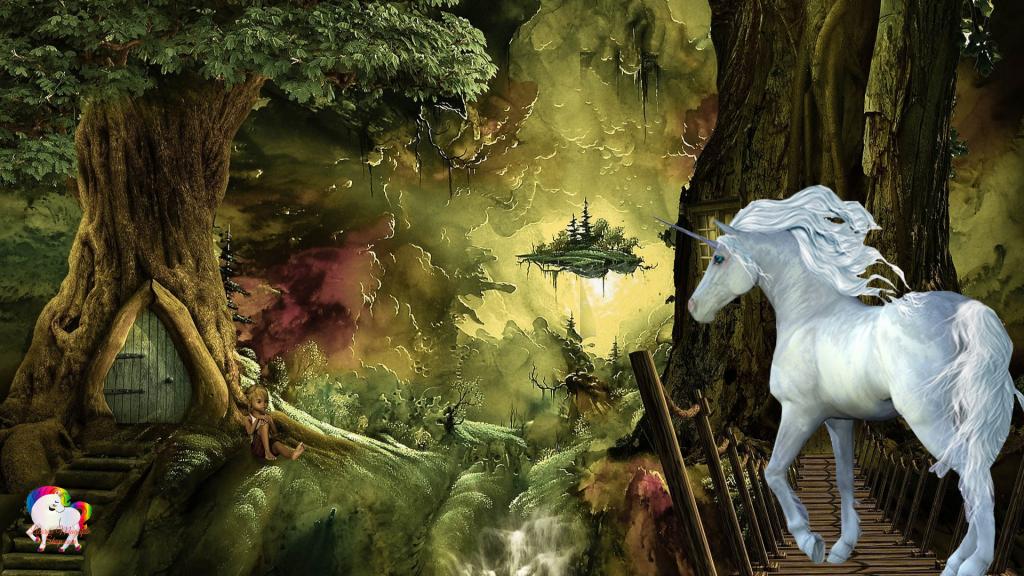 Dans une forêt féerique magique et luxuriante une licorne blanche se promène en compagnie de petit lutin