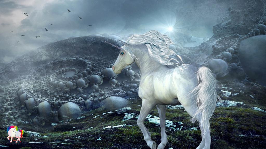 Dans un univers fantastique et inquiétant une licorne blanche et pure se promène