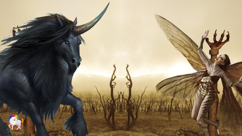 Une licorne noire vient délivrer une fée libellule dans un monde sec et aride