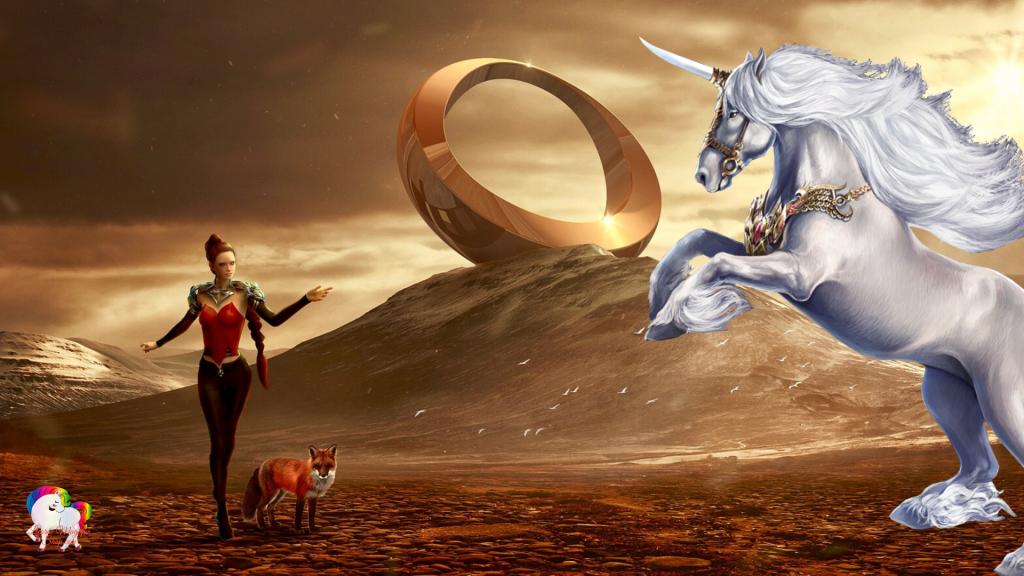 Une licorne blanche vient à la rencontre d'une princesse rouge en compagnie de son renard un univers magique et fantastique