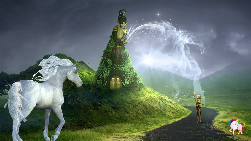 Une licorne blanche regarde une fée lancer un sort sur un petit lutin dans un univers fantastique et magique