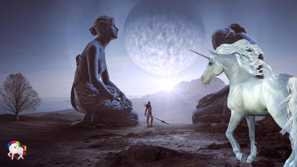 Rencontre entre une guerrière antique et mythologique au pied de deux statues géantes avec une licorne blanche magique dans un monde fantastique