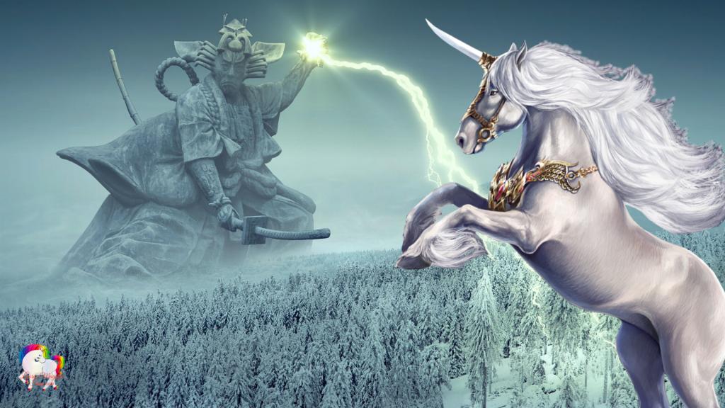 Un ancien Dieu samouraï jette un sortilège sur une licorne blanche dans un monde glacial et fantastique