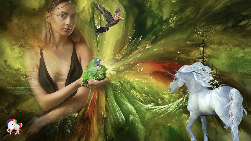 Une licorne blanche découvre un monde magique et fantastique d'une fée géante en compagnie d'oiseaux