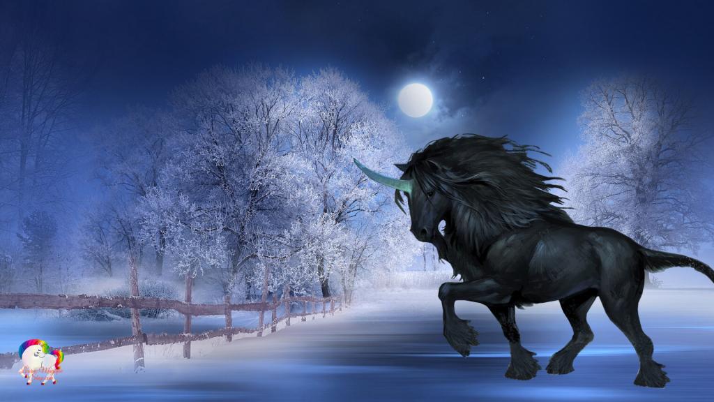 Dans un monde enneigé une licorne noire se promène