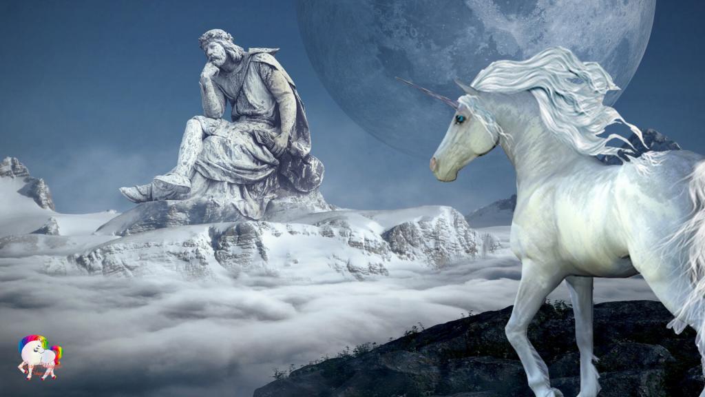 Une licorne blanche découvre une statue géante au sommet d'une montagne fantastique et magique