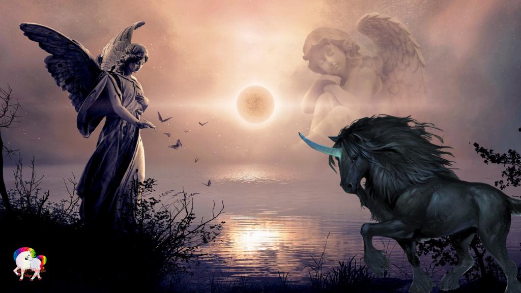 Rencontre d'une licorne noire avec une statue géante d'un ange bienfaiteur au bord d'un lac magique