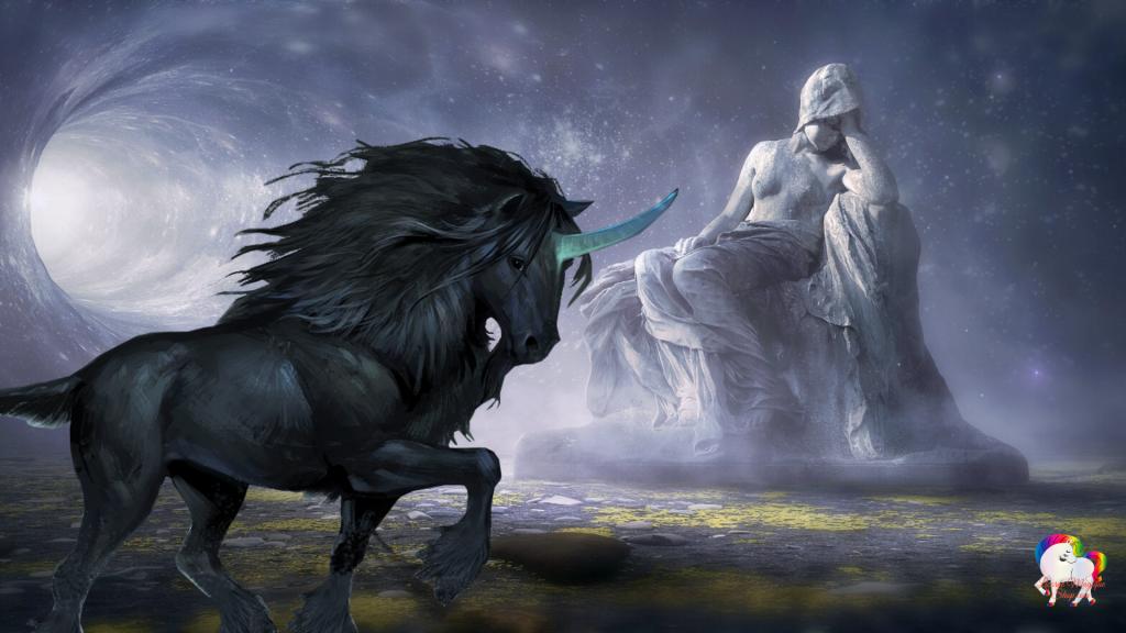 La rencontre d'une licorne noire dans une grotte magique avec une statue de déesse antique