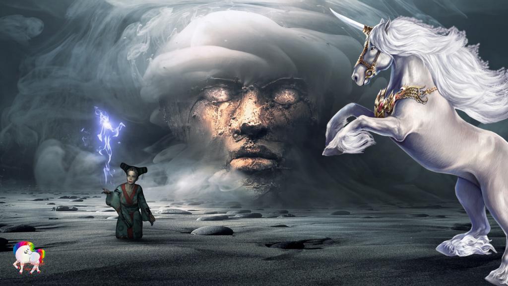 Dans un univers fantastique et magique la rencontre entre une licorne blanche et une sorcière chinoise