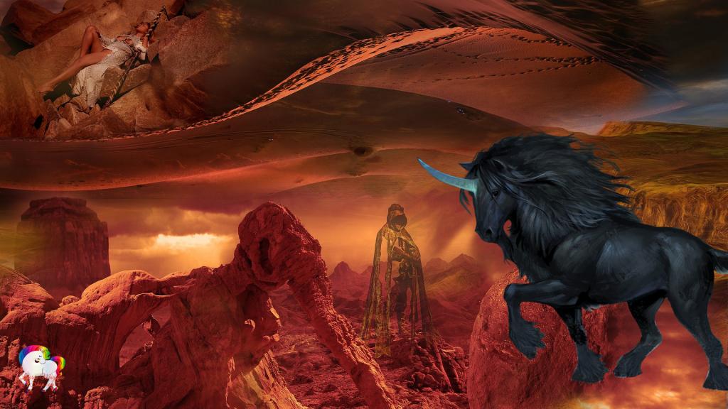Dans un désert aride fantastique et magique une licorne noire se promène