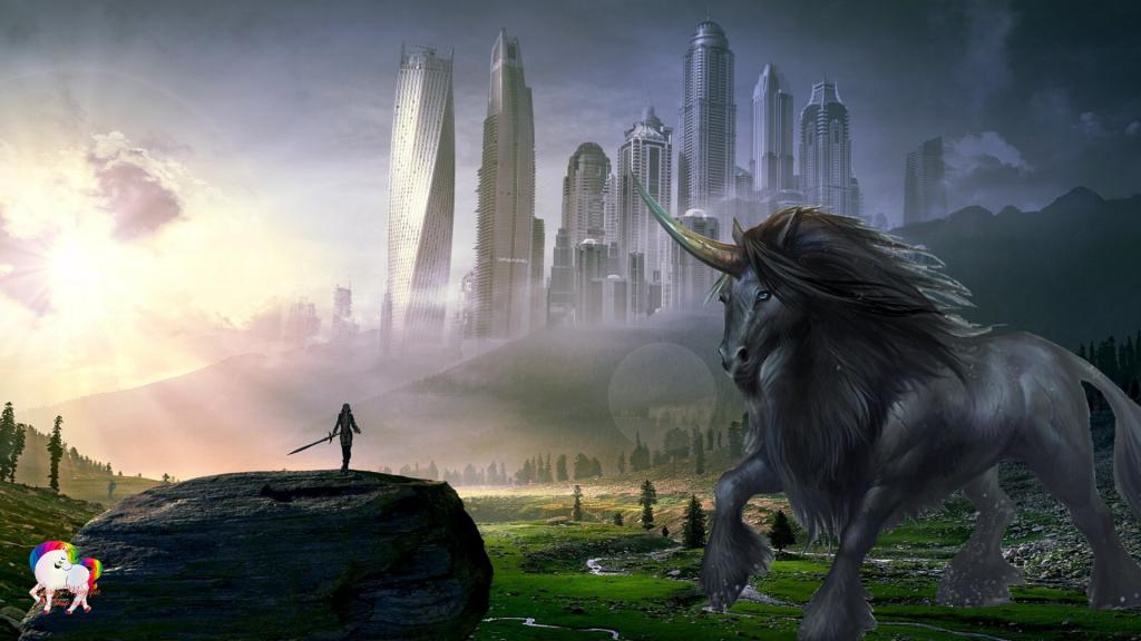 Dans une civilisation future fantastique et magique la rencontre entre une licorne géante et une guerrière noire
