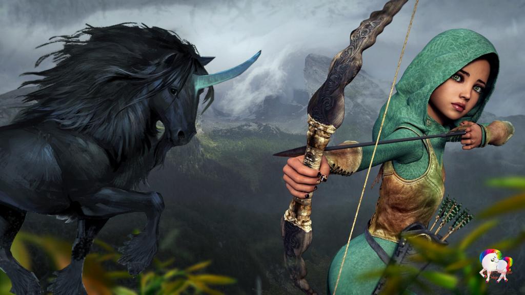 Dans un univers magique et fantastique une jeune fille chasse en compagnie d'une licorne noire qui la protège