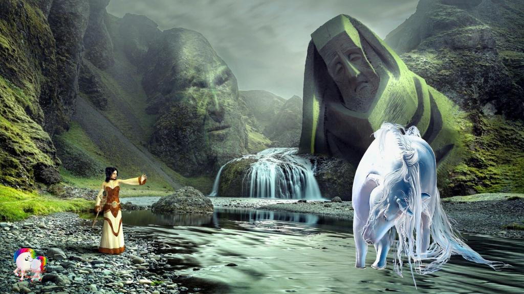 Dans un monde surnaturel une licorne blanche ce beigne en compagnie d'une magicienne au pied de deux statues géante