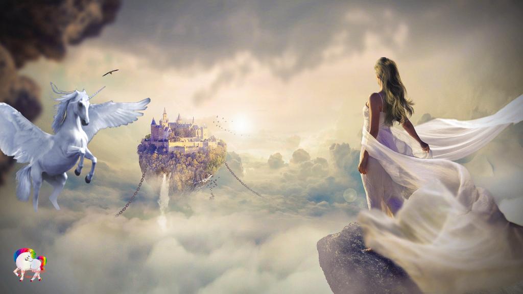 Dans un univers nuageux et fantastique la rencontre d'une vierge et d'une licorne pégase