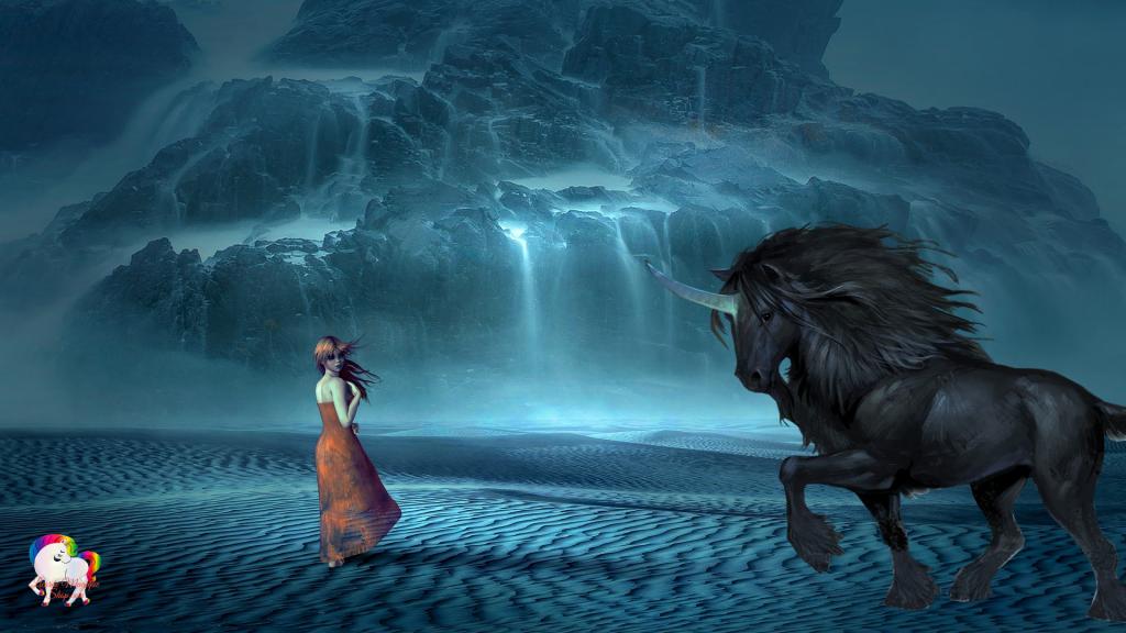 La rencontre entre une jeune fille et une licorne noire au pied d'immense cascades qui coule d'une gigantesque montagne magique