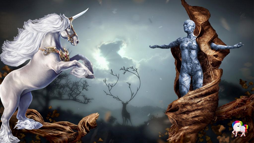 Dans un monde fantastique et magique une licorne blanche et pure cabré devant une statue de déesse antique