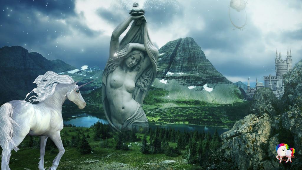 La découverte par une licorne blanche d'une vallée magique au loin une statue géante d'une déesse et un royaume antique