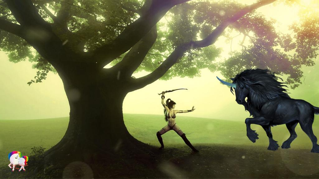 Une guerrière prête à combattre une licorne noire dans un monde fantastique