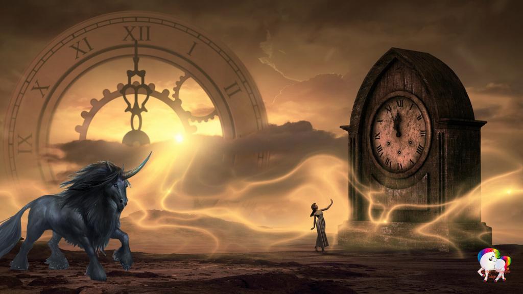 L'arrivée dans un paysage fantastique et magique d'une licorne noire devant une fée maîtresse du temps au pied d'une horloge géante