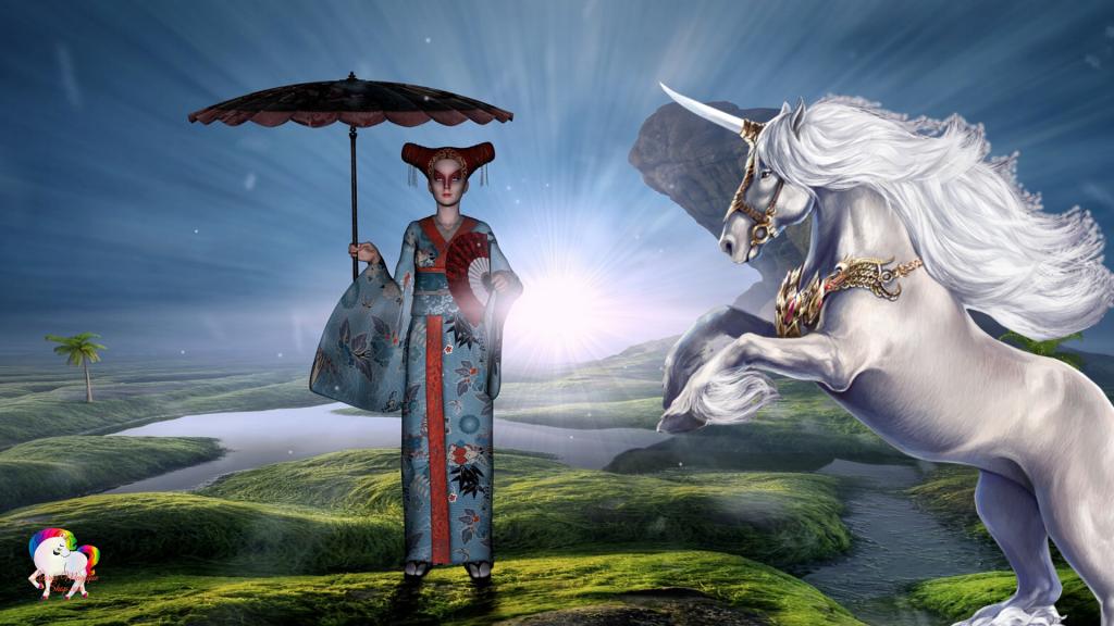 La rencontre au soleil levant dans un univers fantastique et magique d'une sorcière chinoise et d'une licorne blanche et pure