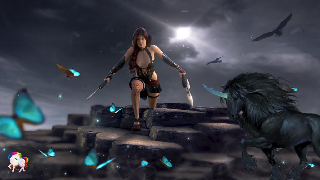 Dans une journée sombre a genou une guerrière antique avec sa licorne noire prête au combat à mener pour la liberté