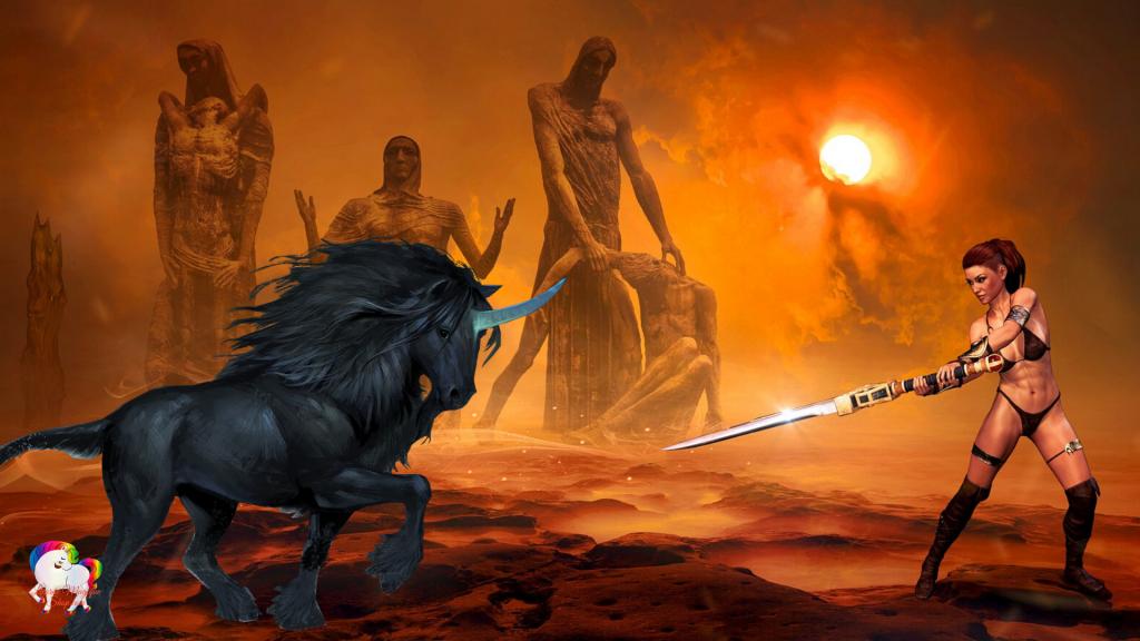 Dans un désert brûlant trois statues géantes au loin une guerrière antique avec sa licorne noire est prête au combat à mener pour la liberté du monde magique et fantastique