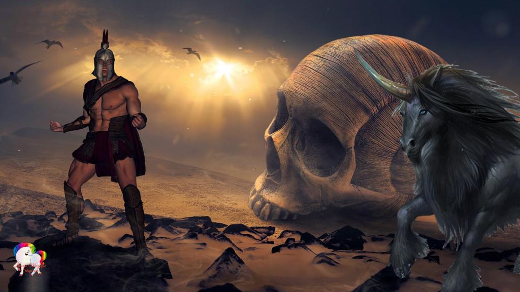 Sortie d'un univers fantastique et magique un gladiateur et prêt à se battre avec sa licorne noire pour libérer son monde