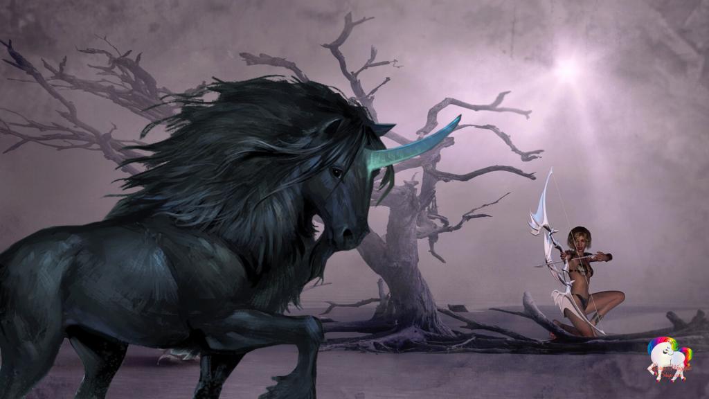 Dans un monde sombre une guerrière antique est prête à se défendre contre une licorne noire qui passe par là