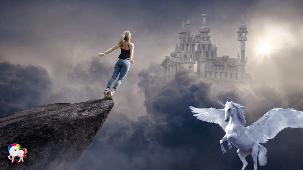Au loin un vieux château suspendu dans les nuages et le saut de l'ange d'une jeune femme devant un être à moitié licorne et pégase