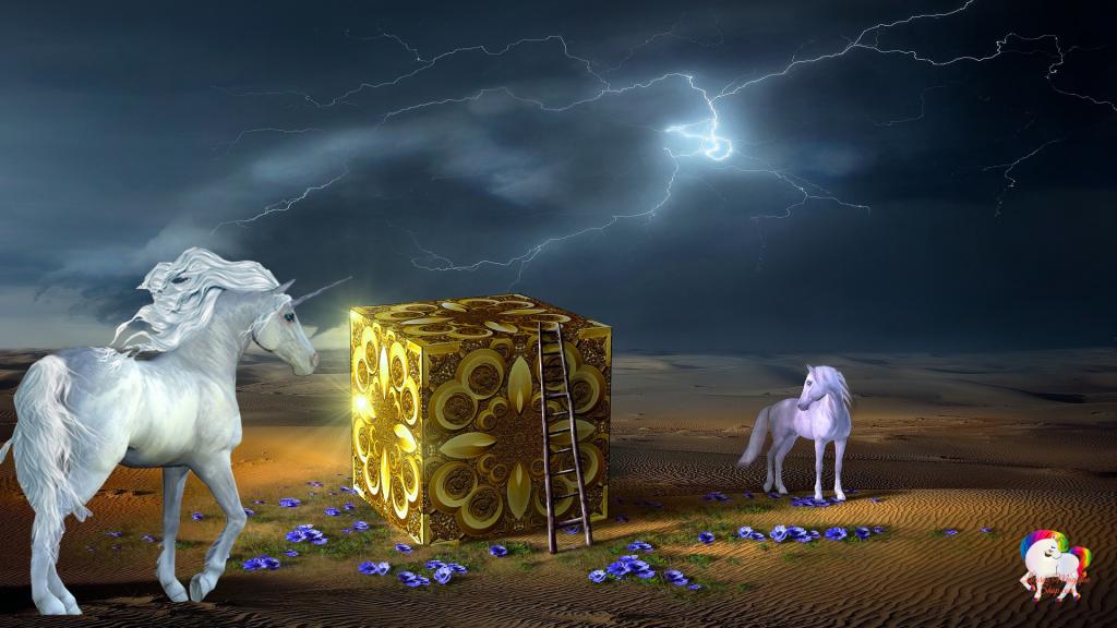 Rencontre dans un désert magique et fantastique d'un cheval blanc avec une licorne blanche