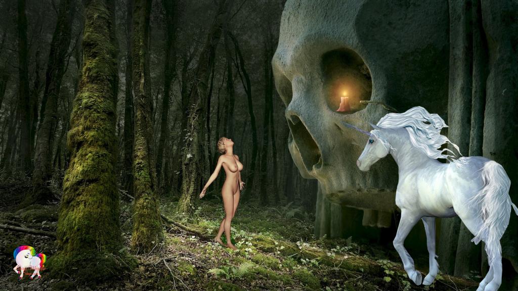 Dans une forêt fantastique et magique la rencontre d'une jeune vierge et d'une licorne blanche