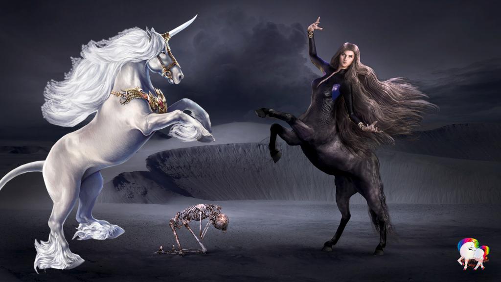 Dans un univers fantastique et magique la rencontre entre une licorne blanche et pure avec une jeune femme à moitié cheval