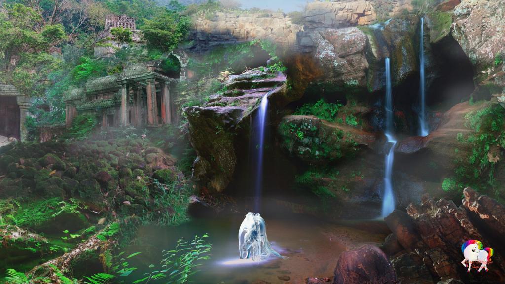 Dans un royaume fantastique et antique au pied de cascade une licorne ce beigne