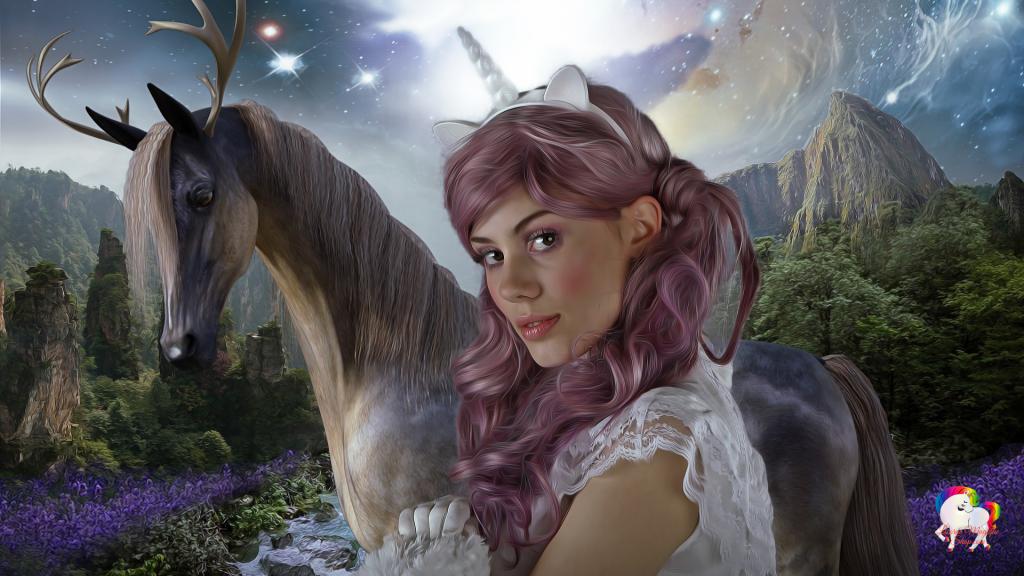 Un monde magique et fantastique une jeune femme licorne en compagnie d'un cheval cerf