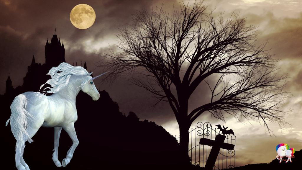 Dans la nuit sombre l'apparition d'une licorne blanche et pure qui se promène prêt d'une croix