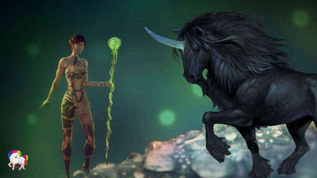 La rencontre d'une fée magique et d'une licorne noire dans un univers fantastique