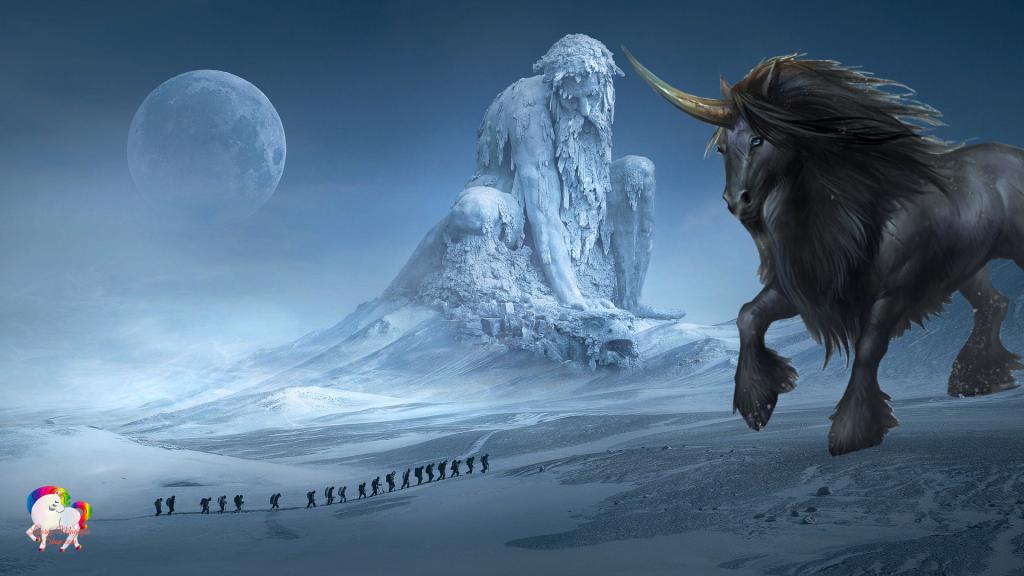 Dans un monde de glace et de neige magique et fantastique une statue d'un dieu antique et une licorne géante a leur pied une cordée avance dans leur direction