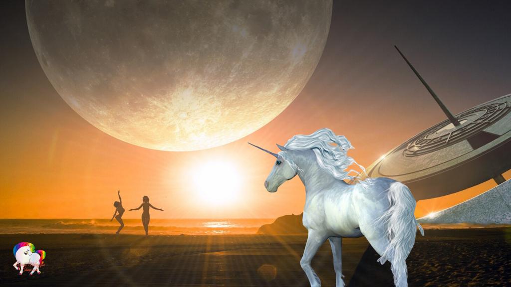 Sur une plage fantastique et magique deux femmes danse au coucher du soleil en présence d'une licorne blanche et pure