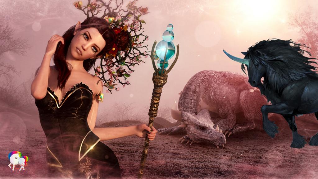 Une sorcière noire en compagnie d'un dragon et d'une licorne noire