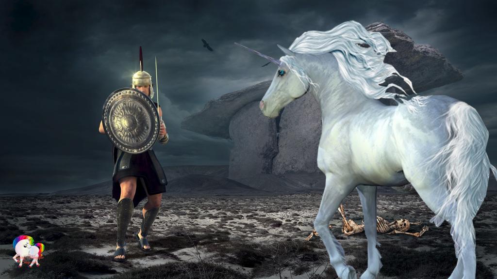 La rencontre d'un gladiateur et d'une licorne blanche dans un univers fantastique magique sombre et nuageux