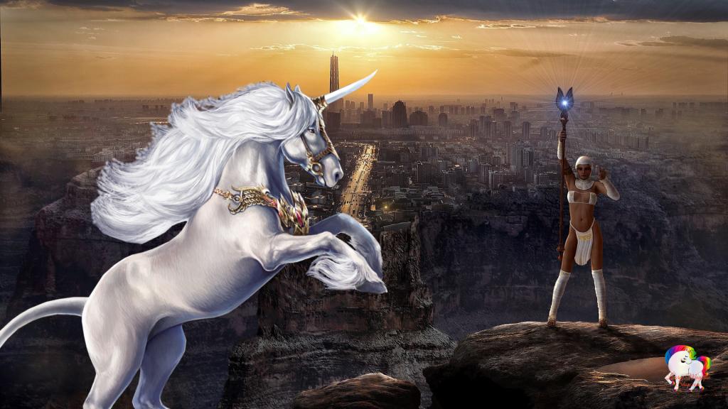 Dans un monde futuriste magique et fantastique la rencontre d'une déesse blanche et d'une licorne blanche et pure